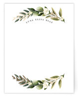 This is a green foil stamped stationery by Susan Moyal called Curved Name with foil-pressed printing on signature in 4.25x5.5.