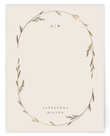 This is a beige foil stamped stationery by Kelly Schmidt called Oval Botanical with foil-pressed printing on signature in 4.25x5.5.