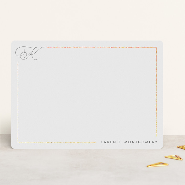 """""""Bordered"""" - Foil-pressed 5x7 Personalized Stationery in Porcelain by Kristel Torralba."""
