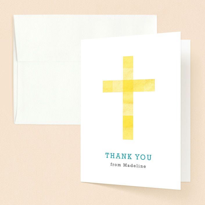 """Cubed Cross"" - Modern, Simple First Holy Communion Thank You Cards in Daffodil by Luckybug Designs."