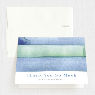 watercolor stripes First Holy Communion Thank You Cards