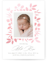 This is a pink birth announcement by Jennifer Postorino called Baby Blossom with gloss-press printing on smooth signature in standard.