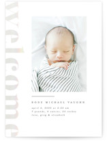 This is a grey birth announcement by Erica Krystek called Modern Welcome with gloss-press printing on smooth signature in standard.