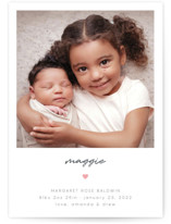 This is a grey birth announcement by Emily Sabol Goss called Simple Signature with gloss-press printing on smooth signature in standard.