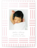 This is a white birth announcement by Carly Reed Walker called Linear with gloss-press printing on smooth signature in standard.