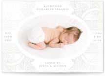 This is a grey birth announcement by Katie Zimpel called Royal Baby with gloss-press printing on smooth signature in standard.