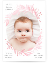This is a grey birth announcement by Alethea and Ruth called Leafy Frame with gloss-press printing on smooth signature in standard.