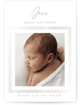This is a grey birth announcement by Sara Hicks Malone called Signature Frame with gloss-press printing on smooth signature in standard.