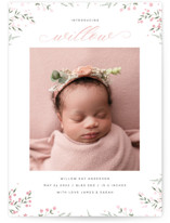 This is a pink birth announcement by Susan Moyal called Baby Florals with gloss-press printing on smooth signature in standard.