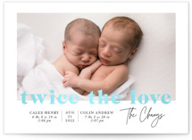 This is a blue birth announcement by Ana Sharpe called Adorable Duo with gloss-press printing on smooth signature in standard.