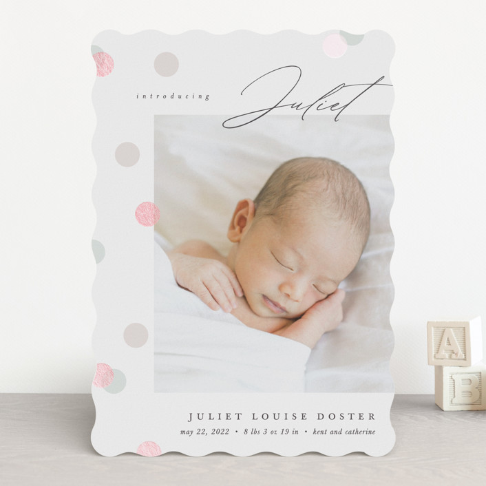"""""""Dots dots and dots"""" - Preppy Gloss-press® Birth Announcements in Peony by Pixel and Hank."""
