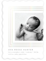 This is a grey birth announcement by Nicoletta Savod called Whisper with gloss-press printing on smooth signature in standard.