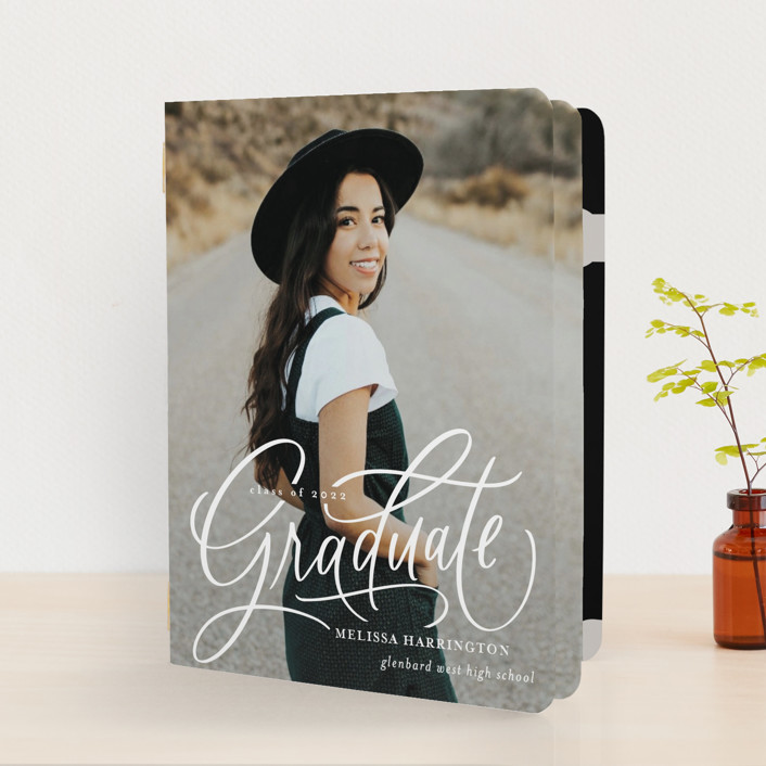 """""""Script Grad"""" - Modern Graduation Booklette™ Cards in Cloud by Erin German."""