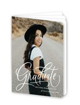 This is a white graduation booklette card by Erin German called Script Grad with standard printing on signature80 in booklette.