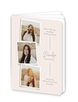 This is a pink graduation booklette card by Ekko Studio called Snapshot Collage with standard printing on signature80 in booklette.