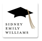 This is a white graduation sticker by Stacey Meacham called Cap and year with standard printing on uncoated sticker paper in sticker.