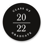 This is a black graduation sticker by Corinne Malesic called This Guy with standard printing on uncoated sticker paper in sticker.