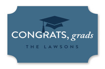 This is a blue graduation sticker by Christie Garcia called Grad Group with standard printing on uncoated sticker paper in sticker.