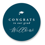 This is a blue graduation sticker by Owl and Toad called Celebration with standard printing on uncoated sticker paper in sticker.