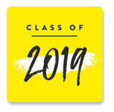 This is a yellow graduation sticker by Robert and Stella called Party Poster with standard printing on uncoated sticker paper in sticker.