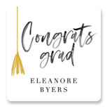 This is a black and white graduation sticker by Jackie Crawford called Grad vibes only with standard printing on uncoated sticker paper in sticker.