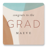 This is a beige graduation sticker by Pixel and Hank called Vibrant Grad with standard printing on uncoated sticker paper in sticker.