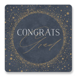 This is a blue graduation sticker by Nicole Barreto called Shimmering Dots with standard printing on uncoated sticker paper in sticker.