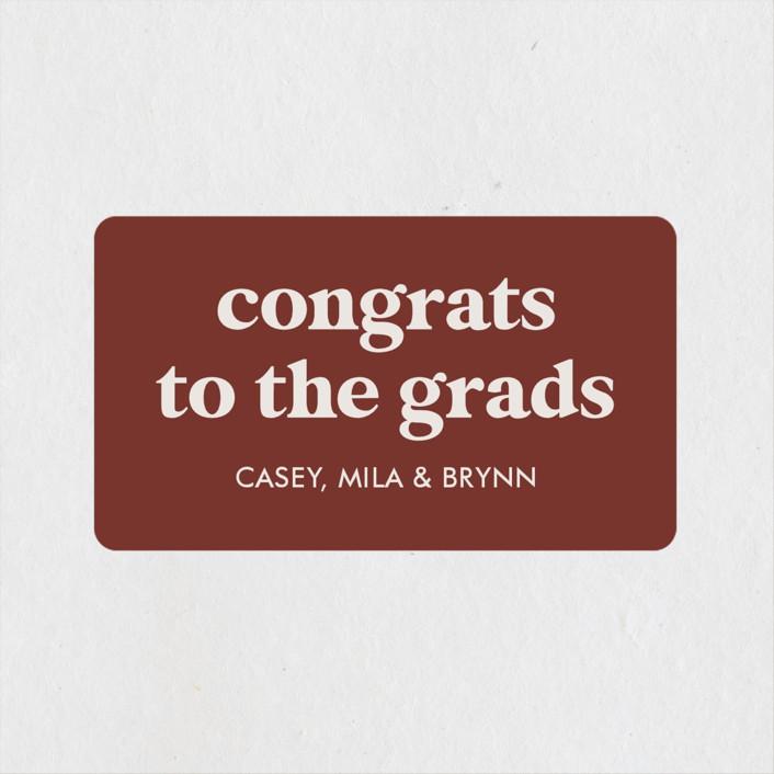 """Virtually the best"" - Funny, Preppy Graduation Stickers in Cinnamon by Lea Delaveris."