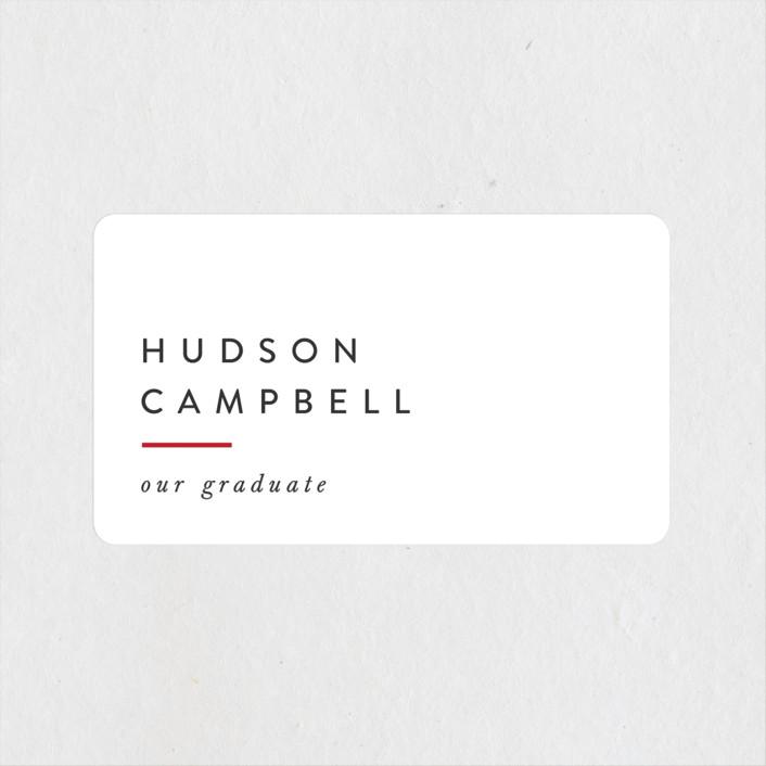 """Modern Varsity"" - Graduation Stickers in Crimson by Ally Madison."