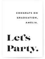 This is a white graduation tag by Up Up Creative called It's Going Down with standard printing on signature in sticker.