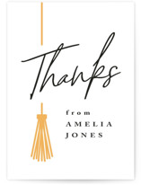 This is a yellow graduation tag by Owl and Toad called Written Out with standard printing on signature in sticker.