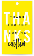 This is a yellow graduation tag by Robert and Stella called Party Poster with standard printing on signature in sticker.