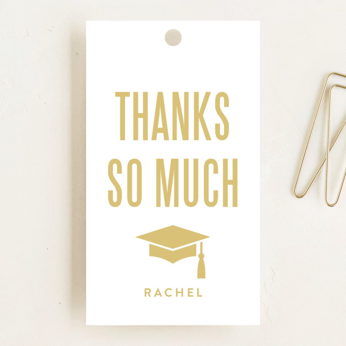 """""""Glitter and Pomp"""" - Graduation Favor Tags in Snow by Susan Brown."""
