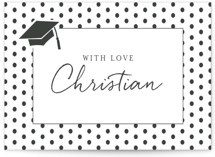 This is a white graduation tag by Deynaaz Daraei called Patchwork with standard printing on signature in sticker.