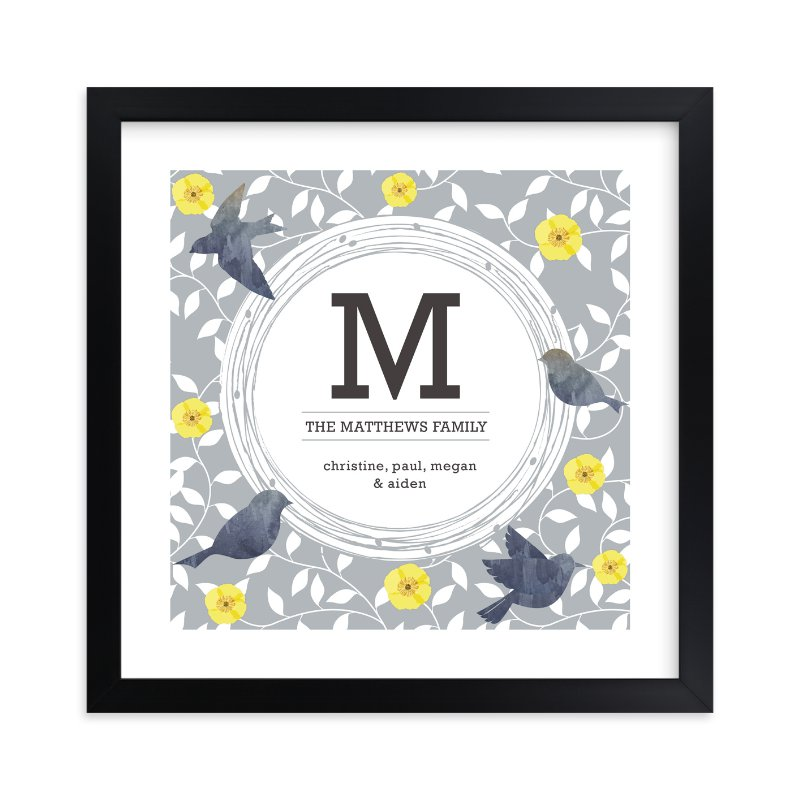 """""""Watercolor Birds Monogram"""" by Bella Expressions-Linda Birtel in beautiful frame options and a variety of sizes."""