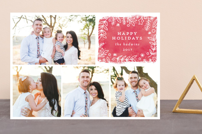 """""""winter berries"""" - Guildery Holiday Cards in Blush by Bethan."""