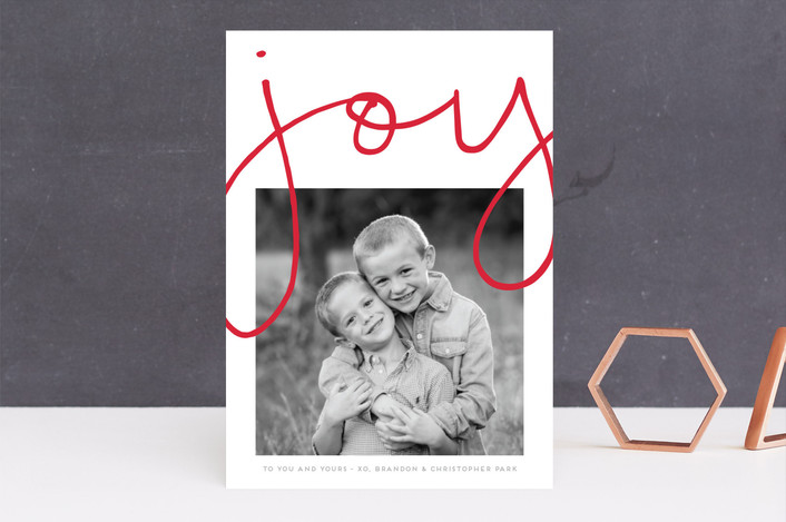 """More Joy"" - Modern Guildery Holiday Cards in Polar Bear by Kaydi Bishop."