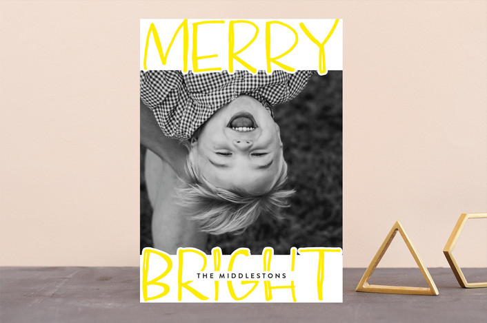 """""""Very Merry Bright"""" - Modern Guildery Holiday Cards in Lemon by Annie Montgomery."""