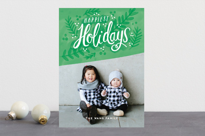 """""""Fresh Holidays"""" - Guildery Holiday Cards in Mint by iamtanya."""