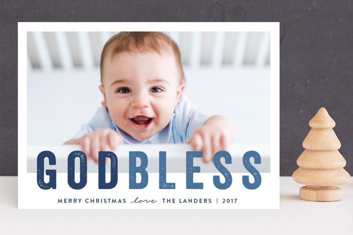 """God Bless "" - Guildery Holiday Cards in Cobalt by Chasity Smith."