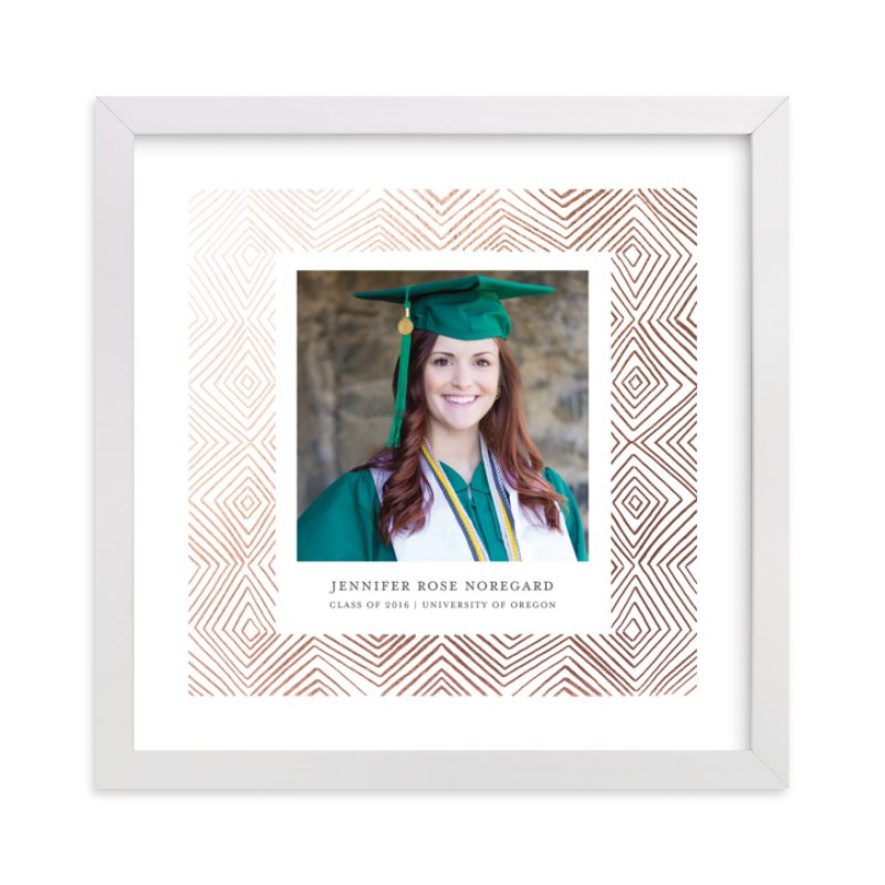 """""""Hand-Drawn Ikat Grad"""" - Foil Pressed Photo Art Print by Paper Dahlia in beautiful frame options and a variety of sizes."""