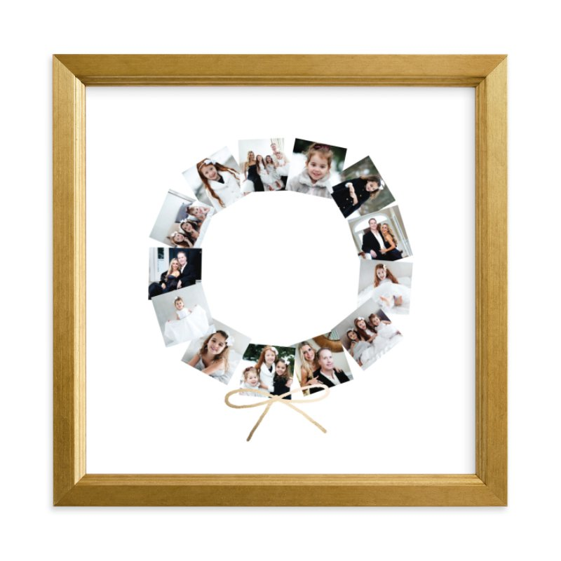 Holiday Wreath Foil Pressed Photo Art Print