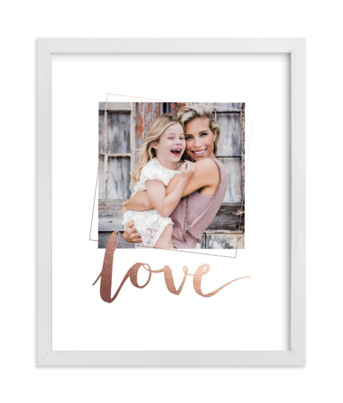 This is a rosegold foil stamped photo art by Seven Swans called Love You, Love with foil-pressed.