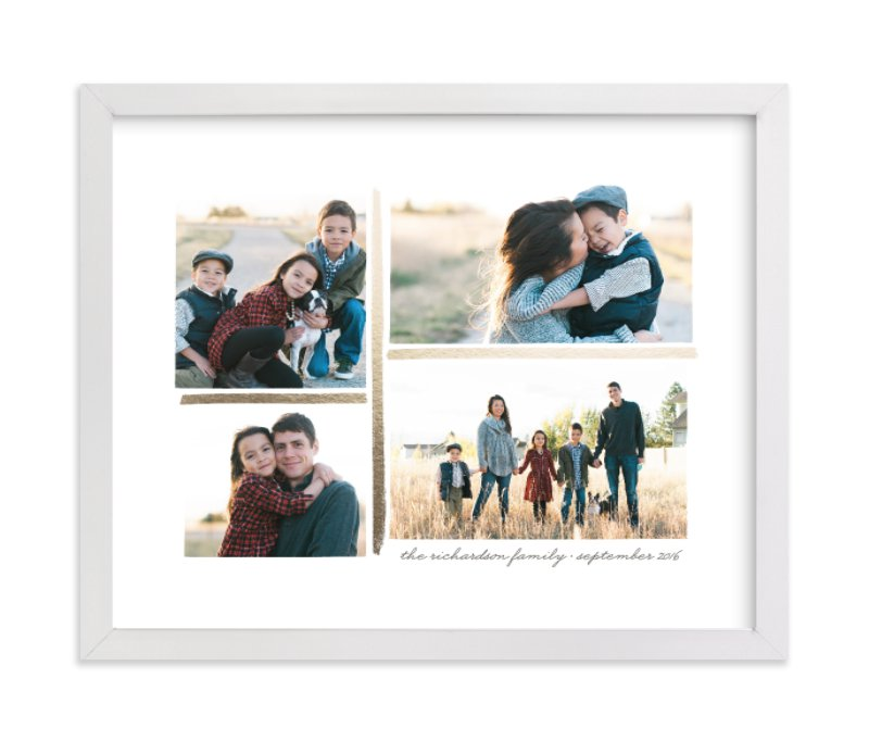 This is a gold foil stamped photo art by Hooray Creative called 4 Photo Collage with foil-pressed.