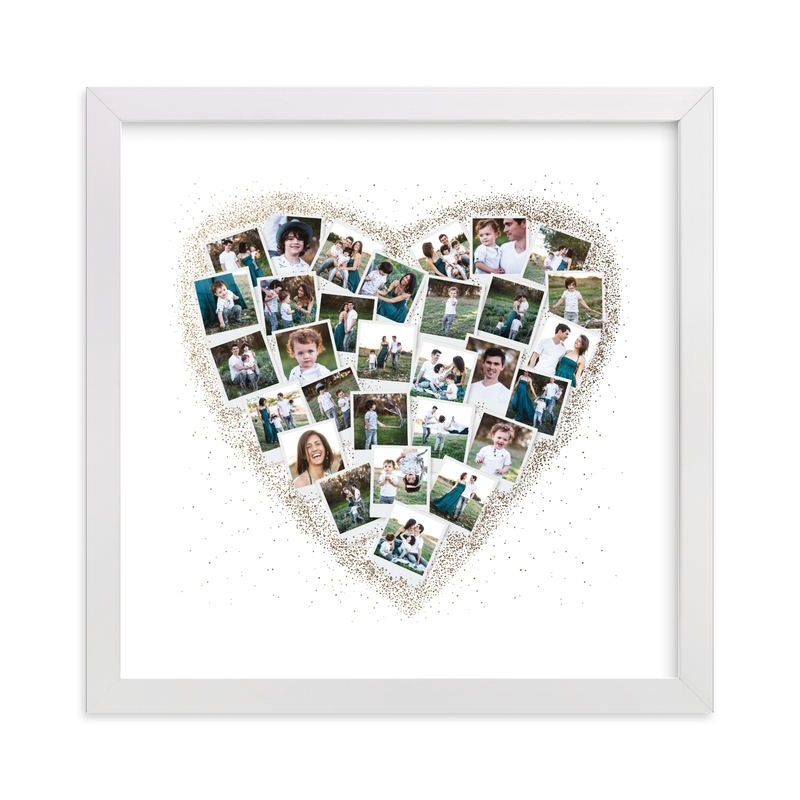 This is a white foil stamped photo art by Minted called Frosted Heart Snapshot Mix® Photo Art.