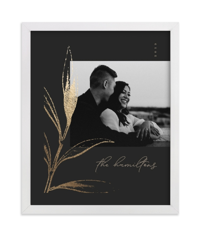 This is a gold foil stamped photo art by Robert and Stella called Holly Sketch with foil-pressed.