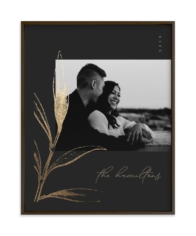 Holly Sketch Foil Pressed Photo Art Print