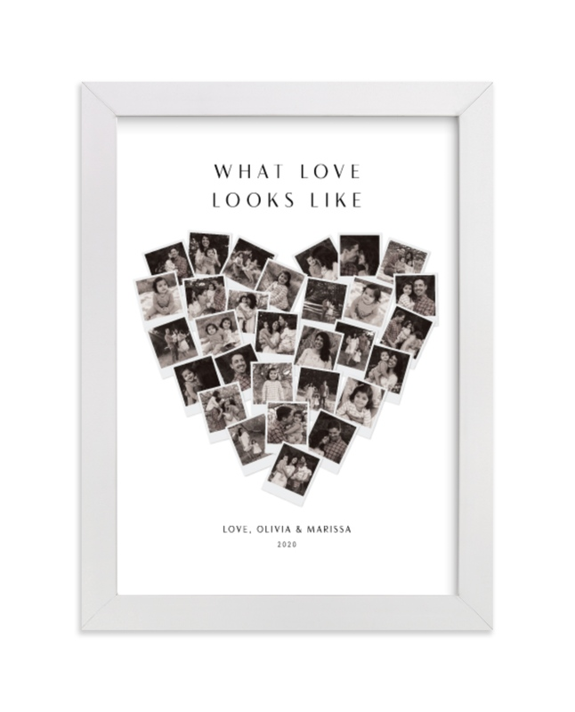 This is a white photo art by Minted called What Love Looks Like Heart Snapshot Mix® with standard.