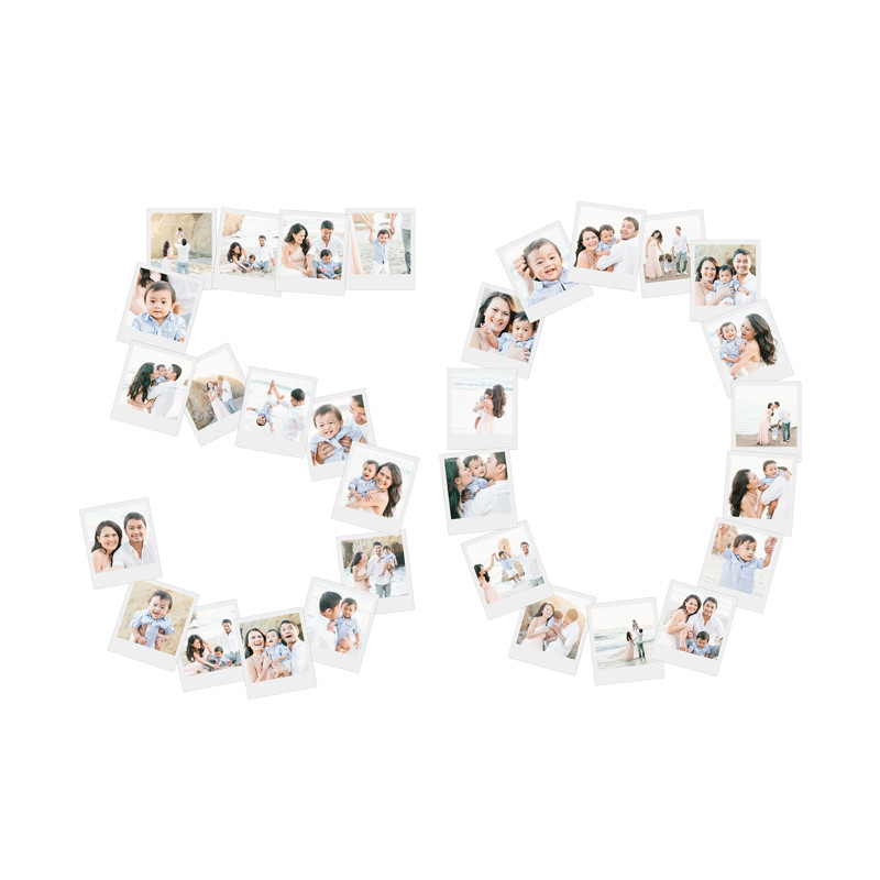 50th Birthday - family photo collage wall decor