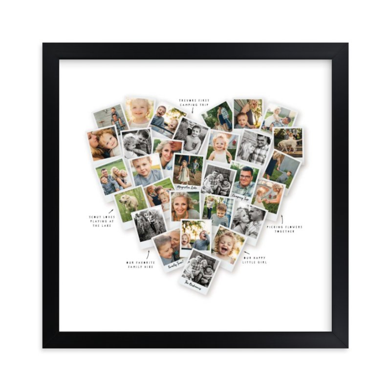 """Captioned Heart Snapshot Mix® Photo Art"" - Custom Photo Art Print by Minted in beautiful frame options and a variety of sizes."